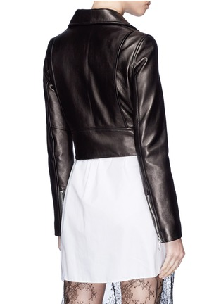 Back View - Click To Enlarge - LOUSY x Lane Crawford - Belted plonge lambskin leather cropped biker jacket