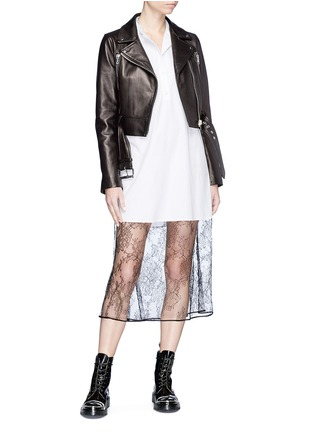 Figure View - Click To Enlarge - LOUSY x Lane Crawford - Belted plonge lambskin leather cropped biker jacket