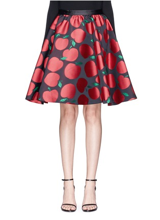 Main View - Click To Enlarge - alice + olivia - 'Earla' apple jacquard flared skirt