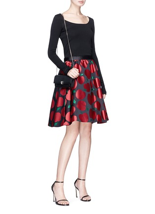 Figure View - Click To Enlarge - alice + olivia - 'Earla' apple jacquard flared skirt