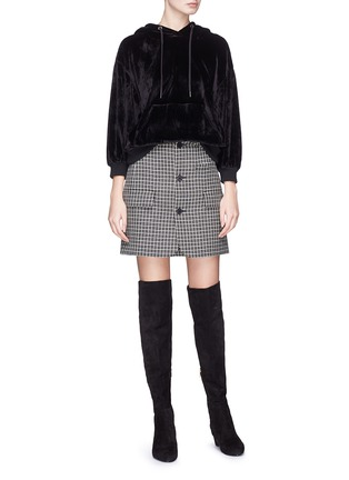 Figure View - Click To Enlarge - alice + olivia - 'Adam' velvet hoodie