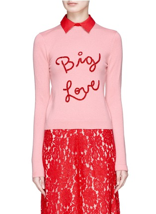 Main View - Click To Enlarge - alice + olivia - 'Dia' detachable collar slogan embroidered cashmere sweater