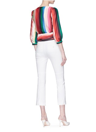 Back View - Click To Enlarge - alice + olivia - 'Dyanna' stripe tie waist top
