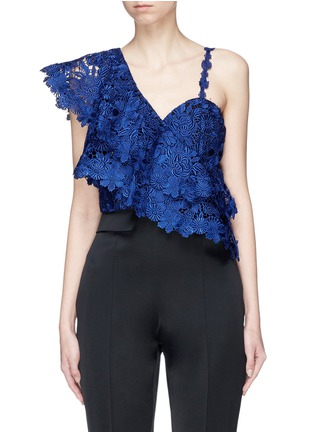 Main View - Click To Enlarge - alice + olivia - 'Saba' one-shoulder tiered ruffle floral lace cropped top