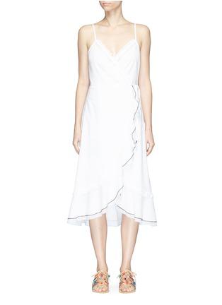 Main View - Click To Enlarge - Kisuii - 'Yael' ruffle wrap camisole dress