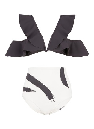 Main View - Click To Enlarge - Zimmermann - 'Painted Heart Flutter' colourblock bikini set