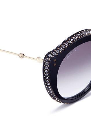 Detail View - Click To Enlarge - GUCCI - Jewelled acetate cat eye sunglasses
