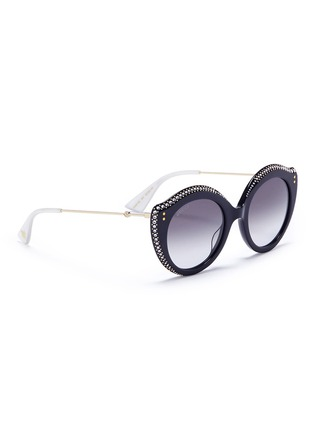 Figure View - Click To Enlarge - GUCCI - Jewelled acetate cat eye sunglasses