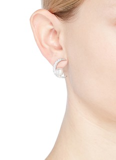 CZ by Kenneth Jay Lane Cubic zirconia crescent shell pearl earrings