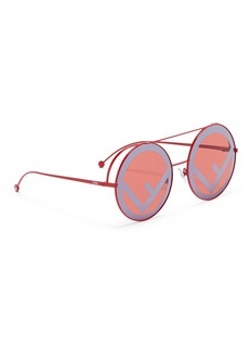 Fendi 'Run Way' oversized logo metal round sunglasses