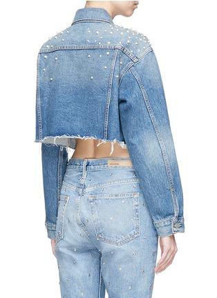 Back View - Click To Enlarge - GRLFRND - 'Eve' embellished cropped cutoff denim jacket