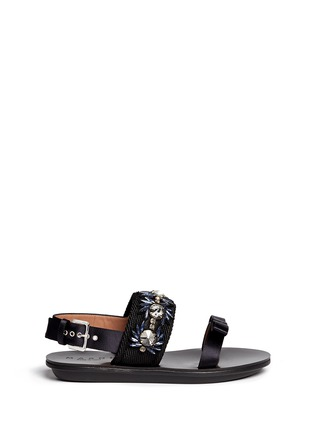 Main View - Click To Enlarge - Marni - Floral jewel strap wedge sandals