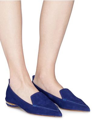 Figure View - Click To Enlarge - Nicholas Kirkwood - 'Beya' metal heel suede skimmer loafers