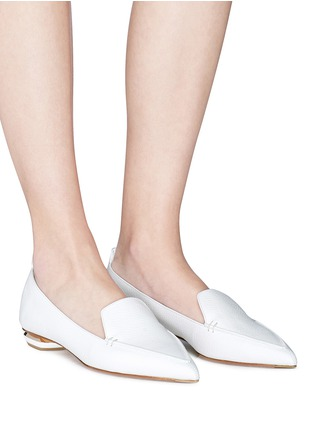 Figure View - Click To Enlarge - NICHOLAS KIRKWOOD - 'Beya' metal heel leather skimmer loafers