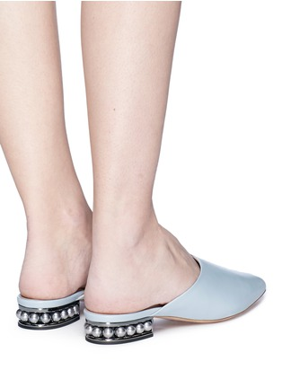 Front View - Click To Enlarge - Nicholas Kirkwood - 'CASATI' FAUX PEARL HEEL LEATHER MULES