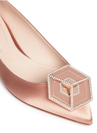 Detail View - Click To Enlarge - Nicholas Kirkwood - 'Eden' strass hexagon plate satin skimmer flats
