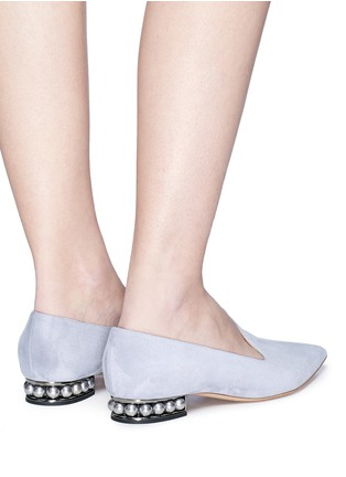 Front View - Click To Enlarge - Nicholas Kirkwood - 'Casati' faux pearl heel suede skimmer loafers
