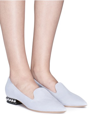 Figure View - Click To Enlarge - Nicholas Kirkwood - 'Casati' faux pearl heel suede skimmer loafers