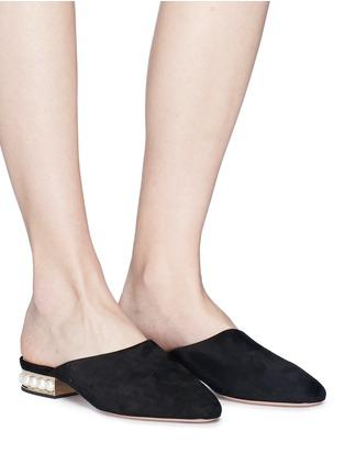 Figure View - Click To Enlarge - Nicholas Kirkwood - 'Casati' faux pearl heel suede mules