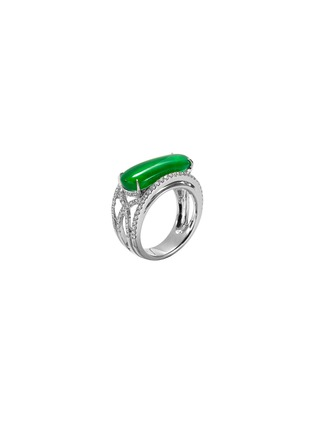 Figure View - Click To Enlarge - SAMUEL KUNG - Diamond jade 18k white gold cutout ring