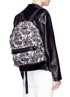 SAINT LAURENT 'City' graphic print canvas backpack