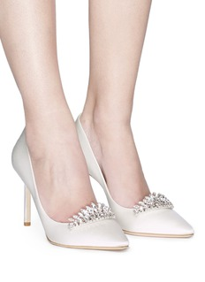 Jimmy Choo 'Romy 85' crystal tiara satin pumps