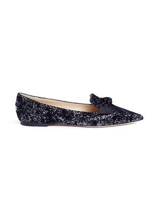 Main View - Click To Enlarge - Jimmy Choo - 'Gabie' satin bow glitter devoré velvet loafers