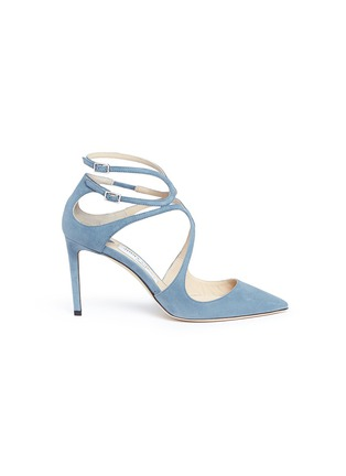 Main View - Click To Enlarge - Jimmy Choo - 'Lancer 85' strappy suede pumps