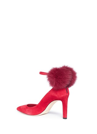 Detail View - Click To Enlarge - Jimmy Choo - 'South 85' fox fur pompom suede pumps