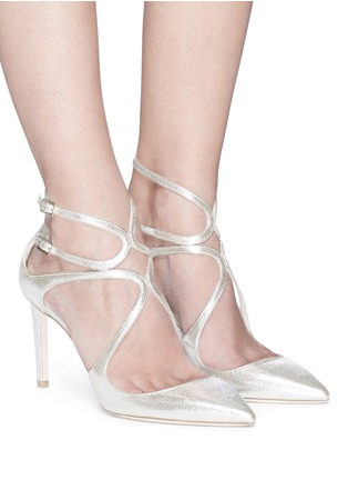 Figure View - Click To Enlarge - Jimmy Choo - 'Lancer 85' metallic leather pumps