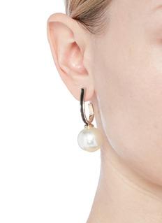 Kenneth Jay Lane Glass pearl enamel hoop earrings