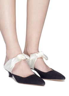 The Row 'Coco' satin bow tie suede mules