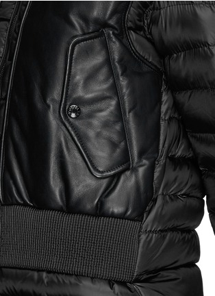 Detail View - Click To Enlarge - Moncler - 'Jasumin' leather front quilted nylon down jacket