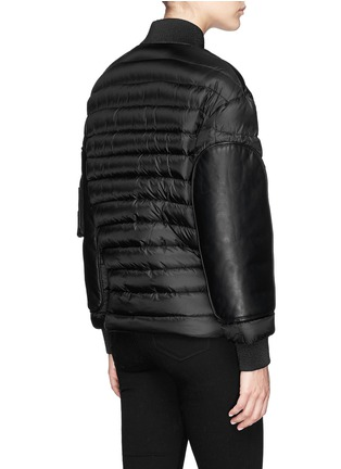 Back View - Click To Enlarge - Moncler - 'Jasumin' leather front quilted nylon down jacket