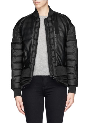 Main View - Click To Enlarge - Moncler - 'Jasumin' leather front quilted nylon down jacket