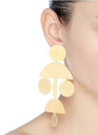 Figure View - Click To Enlarge - ANNIE COSTELLO BROWN - 'Pom Pom' geometric chandelier earrings