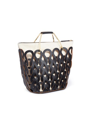 Figure View - Click To Enlarge - Marni - 'Tricot' knit effect leather openwork tote