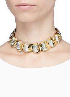 W.Britt Curb chain building print silk scarf tie necklace