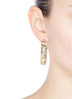 W.Britt Curb chain bird print silk ribbon hoop earrings