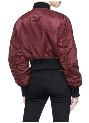Back View - Click To Enlarge - Acne Studios - 'Aila' logo pull padded cropped bomber jacket