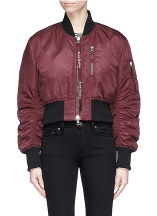 Main View - Click To Enlarge - Acne Studios - 'Aila' logo pull padded cropped bomber jacket