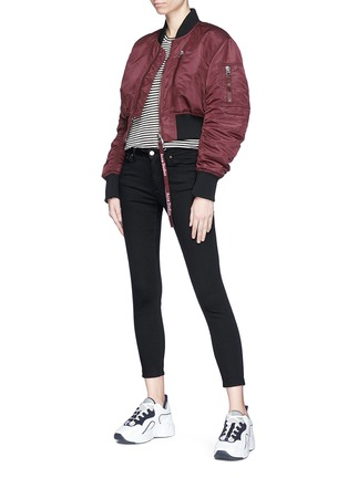 Figure View - Click To Enlarge - Acne Studios - 'Aila' logo pull padded cropped bomber jacket