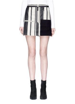 Main View - Click To Enlarge - Acne Studios - 'Hilaria' zip pocket colourblock panel stripe mini skirt