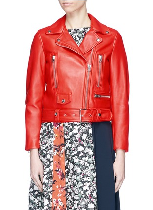 Main View - Click To Enlarge - Acne Studios - 'Mock' belted lambskin leather biker jacket