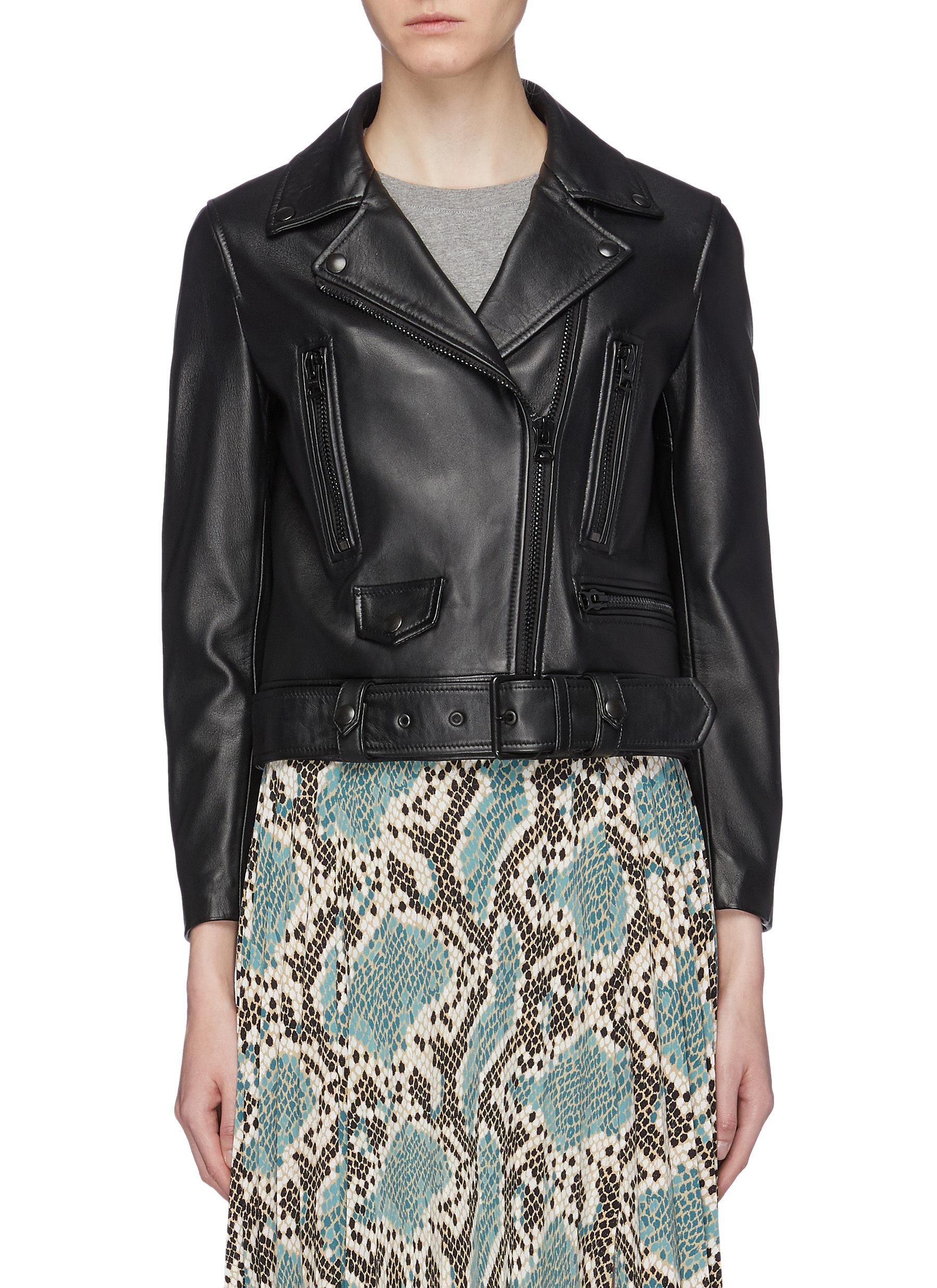 Belted leather biker jacket by Acne Studios