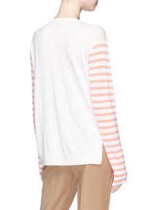 Back View - Click To Enlarge - Acne Studios - 'Cohrie' stripe sleeve Merino wool sweater