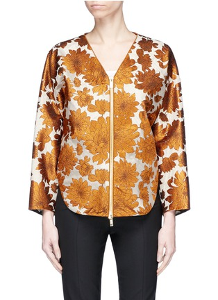 Main View - Click To Enlarge - Ms MIN - Floral jacquard batwing sleeve jacket