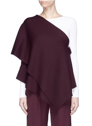 Main View - Click To Enlarge - Ms MIN - Convertible tiered one-shoulder wool cape top