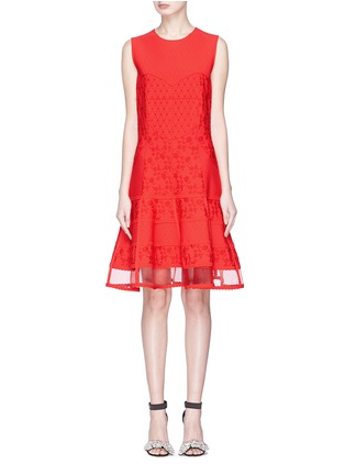 Main View - Click To Enlarge - Alexander McQueen - Floral jacquard patchwork mini knit dress