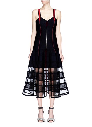 Main View - Click To Enlarge - Alexander McQueen - Floral jacquard patchwork midi dress